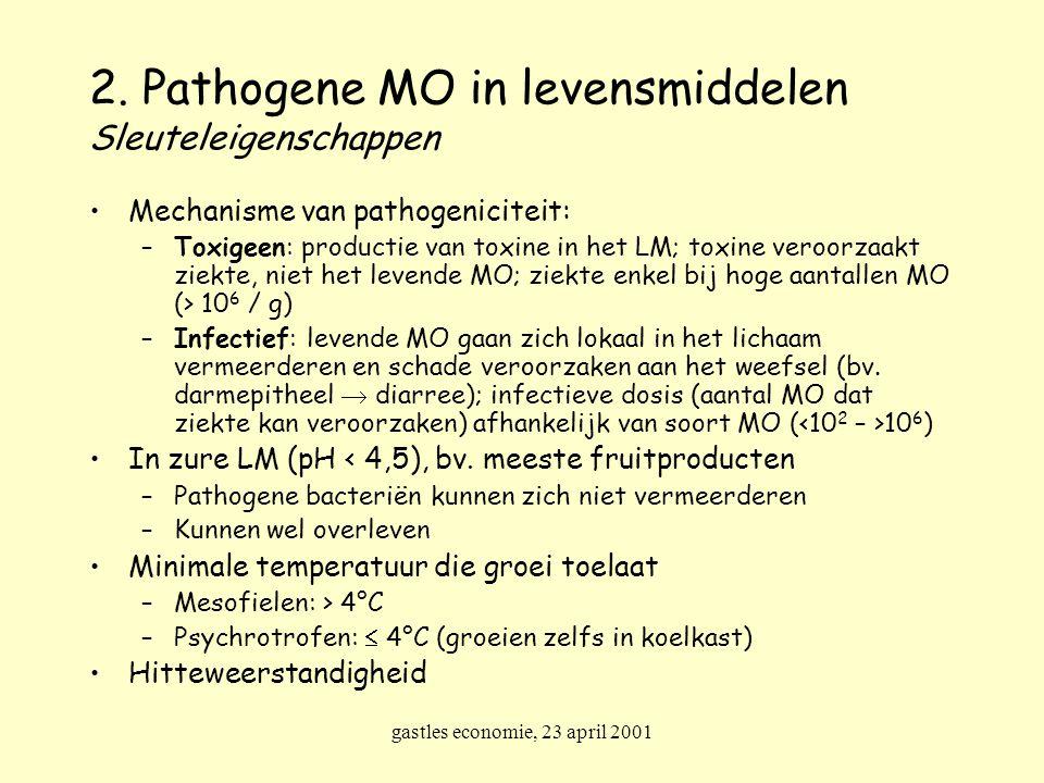 gastles economie, 23 april 2001 2. Pathogene MO in levensmiddelen Sleuteleigenschappen Mechanisme van pathogeniciteit: –Toxigeen: productie van toxine