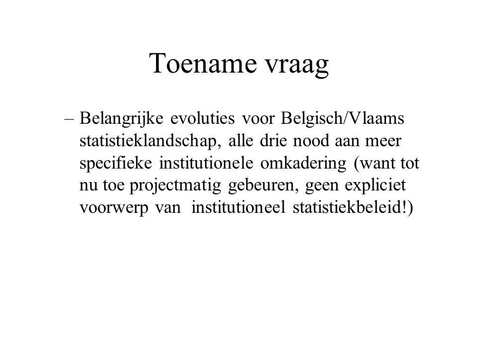 Toename vraag –Belangrijke evoluties voor Belgisch/Vlaams statistieklandschap, alle drie nood aan meer specifieke institutionele omkadering (want tot nu toe projectmatig gebeuren, geen expliciet voorwerp van institutioneel statistiekbeleid!)