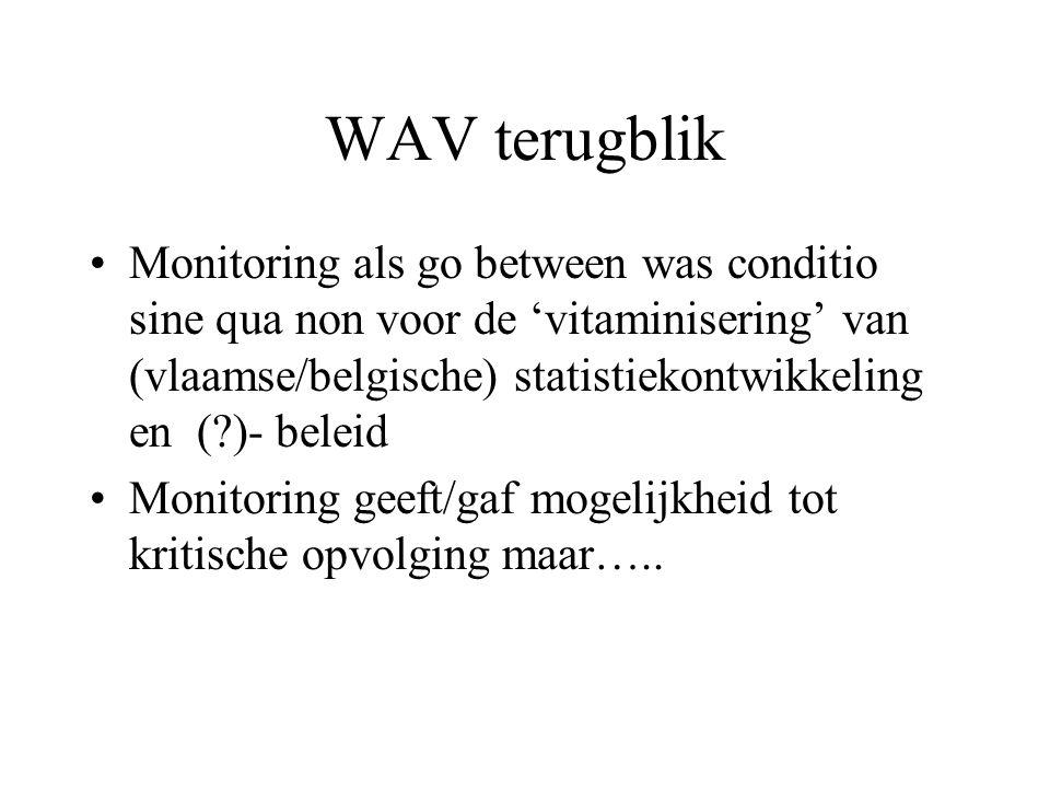 WAV terugblik Monitoring als go between was conditio sine qua non voor de 'vitaminisering' van (vlaamse/belgische) statistiekontwikkeling en ( )- beleid Monitoring geeft/gaf mogelijkheid tot kritische opvolging maar…..
