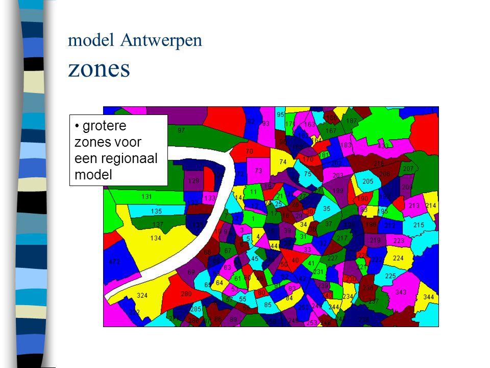 model Antwerpen zones grotere zones voor een regionaal model