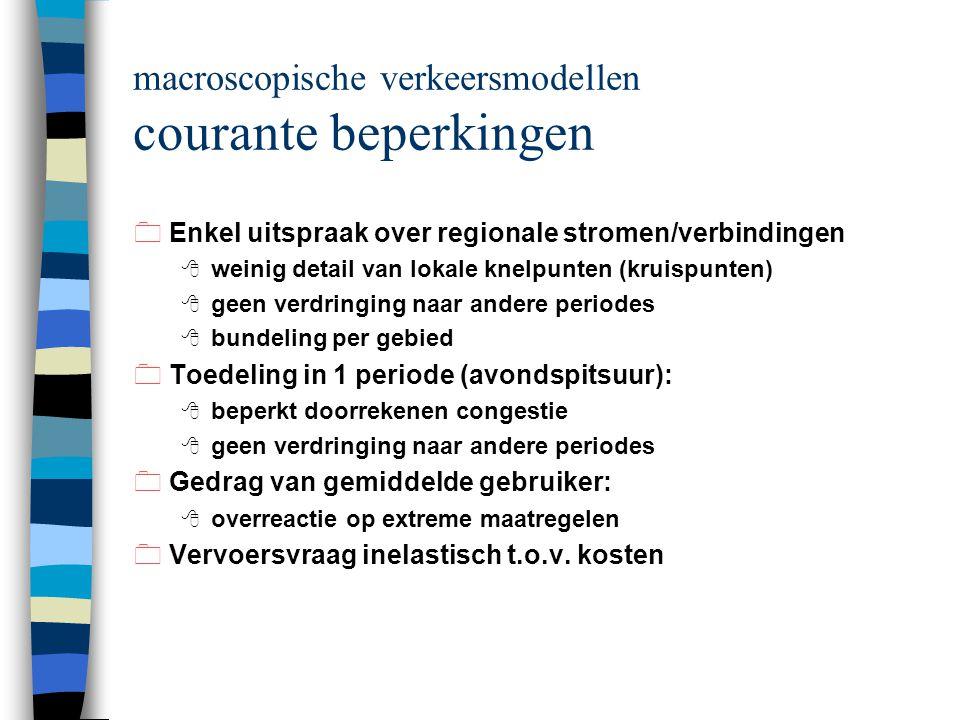 macroscopische verkeersmodellen courante beperkingen 0Enkel uitspraak over regionale stromen/verbindingen 8 weinig detail van lokale knelpunten (kruispunten) 8 geen verdringing naar andere periodes 8 bundeling per gebied 0Toedeling in 1 periode (avondspitsuur): 8 beperkt doorrekenen congestie 8 geen verdringing naar andere periodes 0Gedrag van gemiddelde gebruiker: 8 overreactie op extreme maatregelen 0Vervoersvraag inelastisch t.o.v.