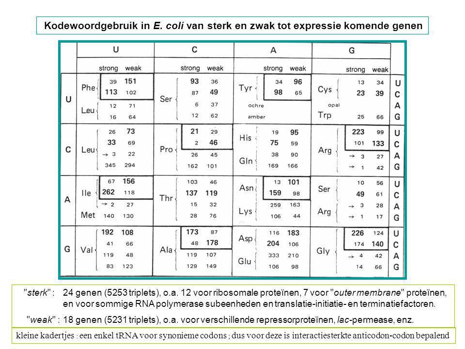 Kodewoordgebruik in E. coli van sterk en zwak tot expressie komende genen