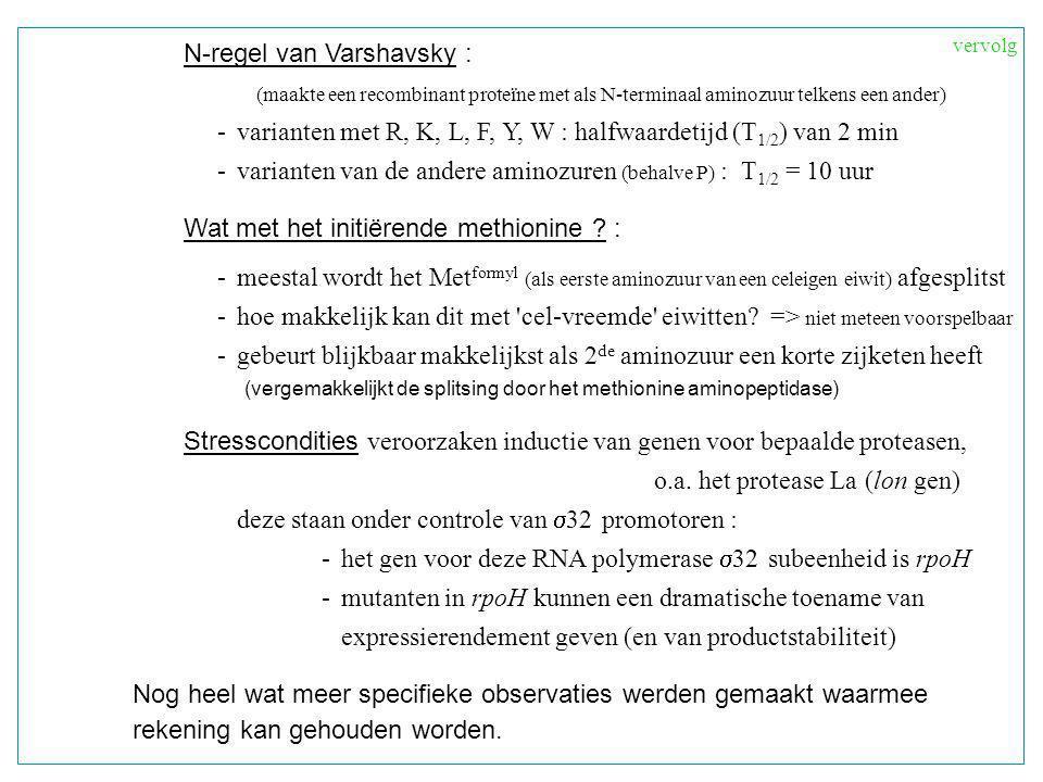 N-regel van Varshavsky : (maakte een recombinant proteïne met als N-terminaal aminozuur telkens een ander) - varianten met R, K, L, F, Y, W : halfwaardetijd (T 1/2 ) van 2 min - varianten van de andere aminozuren (behalve P) : T 1/2 = 10 uur Wat met het initiërende methionine .