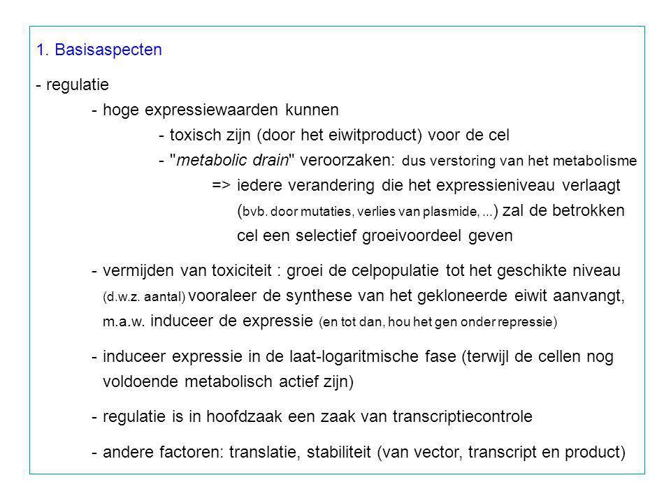 1. Basisaspecten - regulatie -hoge expressiewaarden kunnen -toxisch zijn (door het eiwitproduct) voor de cel -