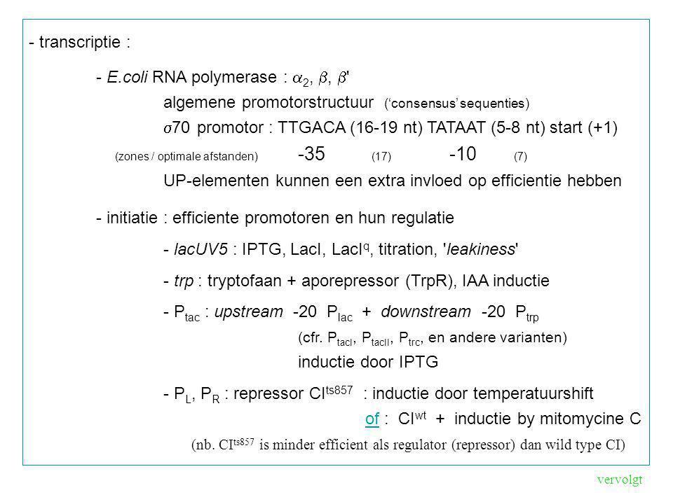 - pBAD systeem -dimeer AraC bindt aan I 1 en O 2 operatorplaatsen (de DNA lus blokkeert transcriptie) -dimeer AraC + arabinose : bindt aan de I 1 en I 2 plaatsen dit is catabolietrepressie gevoelig : CAP + cAMP (cAMP = is laag als glucose concentratie hoog is) => samenspel van arabinose en glucose concentraties kan gebruikt worden als fijnregeling van het expressieniveau (nb.