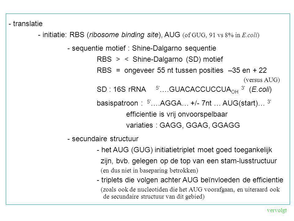 - translatie - initiatie: RBS (ribosome binding site), AUG (of GUG, 91 vs 8% in E.coli) - sequentie motief : Shine-Dalgarno sequentie RBS > < Shine-Da