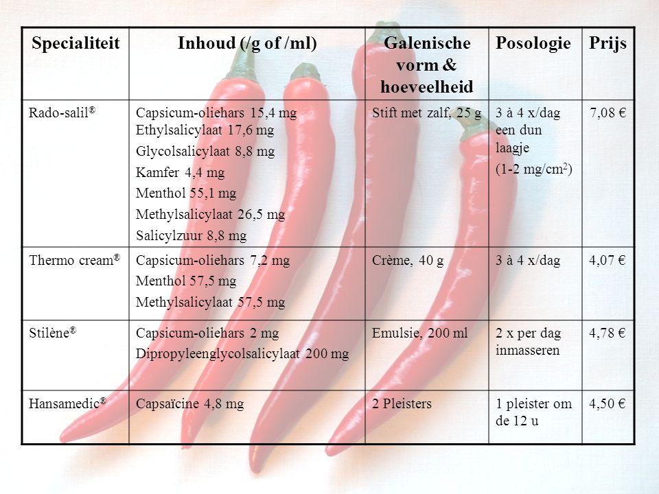 SpecialiteitInhoud (/g of /ml)Galenische vorm & hoeveelheid PosologiePrijs Rado-salil ® Capsicum-oliehars 15,4 mg Ethylsalicylaat 17,6 mg Glycolsalicylaat 8,8 mg Kamfer 4,4 mg Menthol 55,1 mg Methylsalicylaat 26,5 mg Salicylzuur 8,8 mg Stift met zalf, 25 g3 à 4 x/dag een dun laagje (1-2 mg/cm 2 ) 7,08 € Thermo cream ® Capsicum-oliehars 7,2 mg Menthol 57,5 mg Methylsalicylaat 57,5 mg Crème, 40 g3 à 4 x/dag4,07 € Stilène ® Capsicum-oliehars 2 mg Dipropyleenglycolsalicylaat 200 mg Emulsie, 200 ml2 x per dag inmasseren 4,78 € Hansamedic ® Capsaïcine 4,8 mg2 Pleisters1 pleister om de 12 u 4,50 €