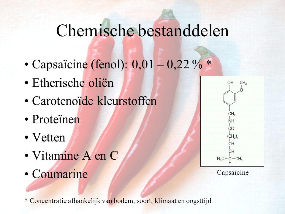 Chemische bestanddelen Capsaïcine (fenol): 0,01 – 0,22 % * Etherische oliën Carotenoïde kleurstoffen Proteïnen Vetten Vitamine A en C Coumarine * Concentratie afhankelijk van bodem, soort, klimaat en oogsttijd Capsaïcine