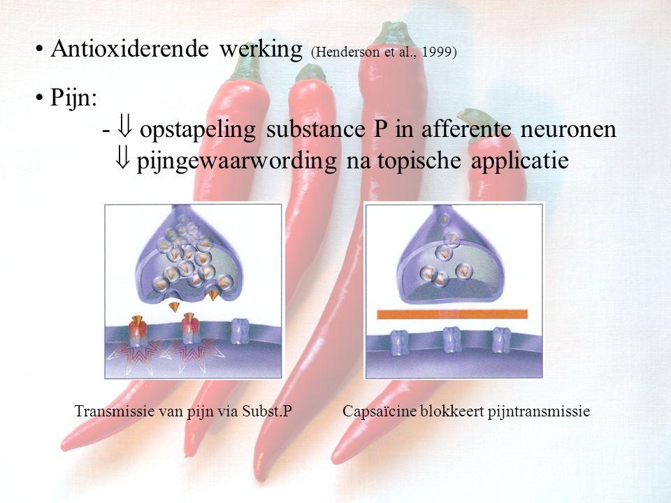 Antioxiderende werking (Henderson et al., 1999) Pijn: -  opstapeling substance P in afferente neuronen  pijngewaarwording na topische applicatie Transmissie van pijn via Subst.PCapsaïcine blokkeert pijntransmissie
