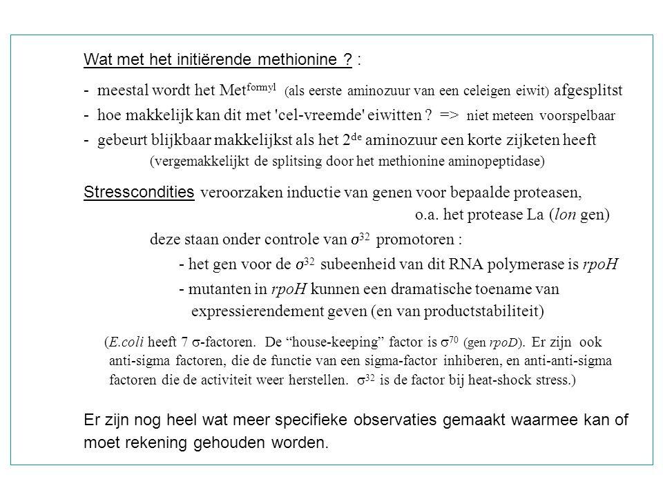 Wat met het initiërende methionine ? : - meestal wordt het Met formyl ( als eerste aminozuur van een celeigen eiwit ) afgesplitst - hoe makkelijk kan