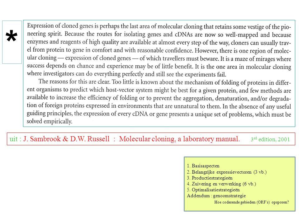 uit : J. Sambrook & D.W. Russell : Molecular cloning, a laboratory manual. 3 rd edition, 2001 1. Basisaspecten 2. Belangrijke expressievectoren (3 vb.