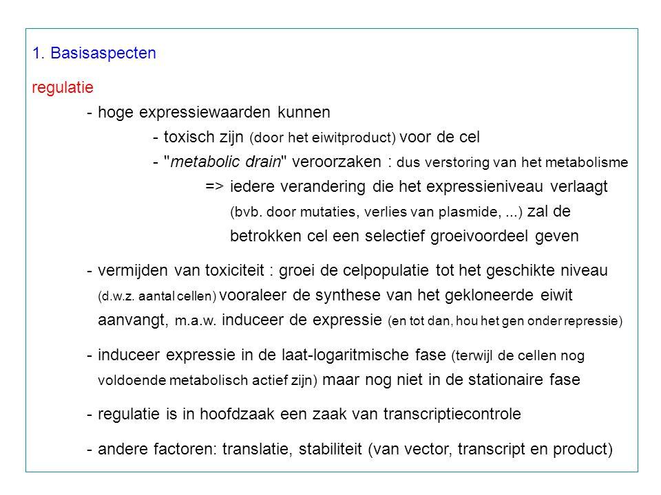 1. Basisaspecten regulatie -hoge expressiewaarden kunnen -toxisch zijn (door het eiwitproduct) voor de cel -