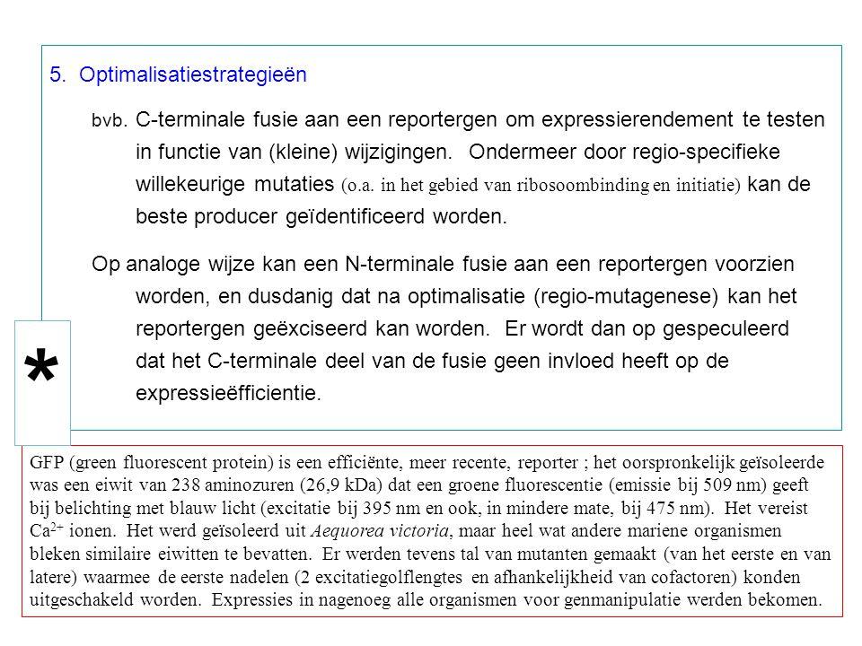 5. Optimalisatiestrategieën bvb. C-terminale fusie aan een reportergen om expressierendement te testen in functie van (kleine) wijzigingen. Ondermeer