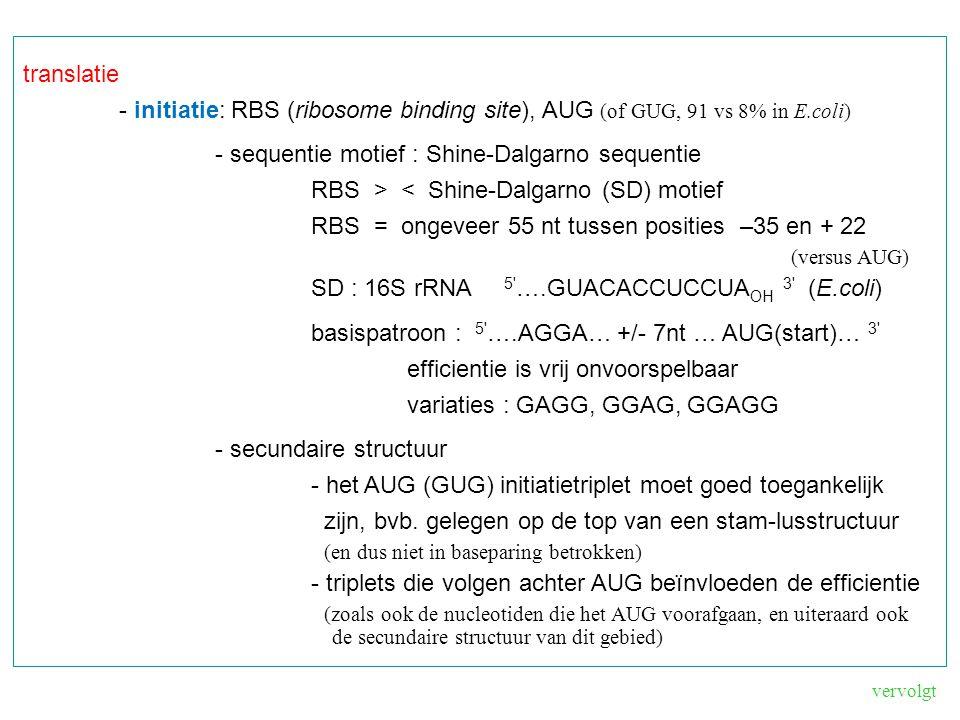 translatie - initiatie: RBS (ribosome binding site), AUG (of GUG, 91 vs 8% in E.coli) - sequentie motief : Shine-Dalgarno sequentie RBS > < Shine-Dalgarno (SD) motief RBS = ongeveer 55 nt tussen posities –35 en + 22 (versus AUG) SD : 16S rRNA 5 ….GUACACCUCCUA OH 3 (E.coli) basispatroon : 5 ….AGGA… +/- 7nt … AUG(start)… 3 efficientie is vrij onvoorspelbaar variaties : GAGG, GGAG, GGAGG - secundaire structuur - het AUG (GUG) initiatietriplet moet goed toegankelijk zijn, bvb.