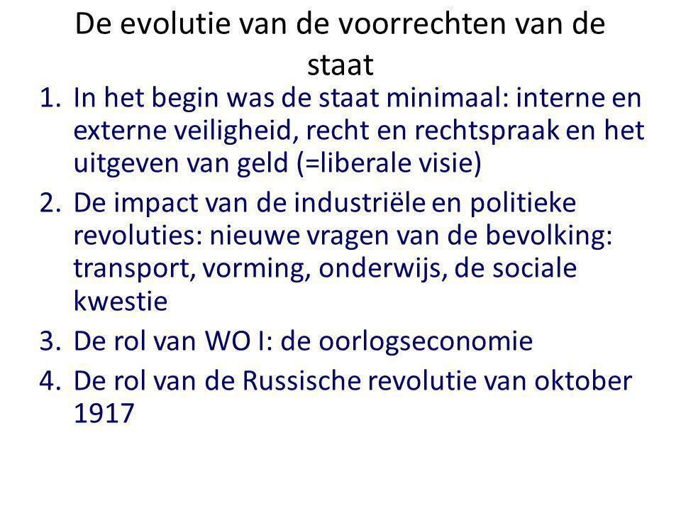 De evolutie van de voorrechten van de staat 1.In het begin was de staat minimaal: interne en externe veiligheid, recht en rechtspraak en het uitgeven