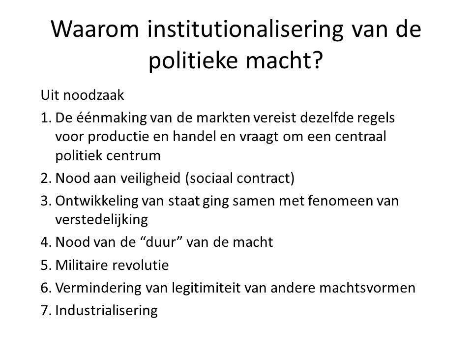 Waarom institutionalisering van de politieke macht? Uit noodzaak 1.De éénmaking van de markten vereist dezelfde regels voor productie en handel en vra