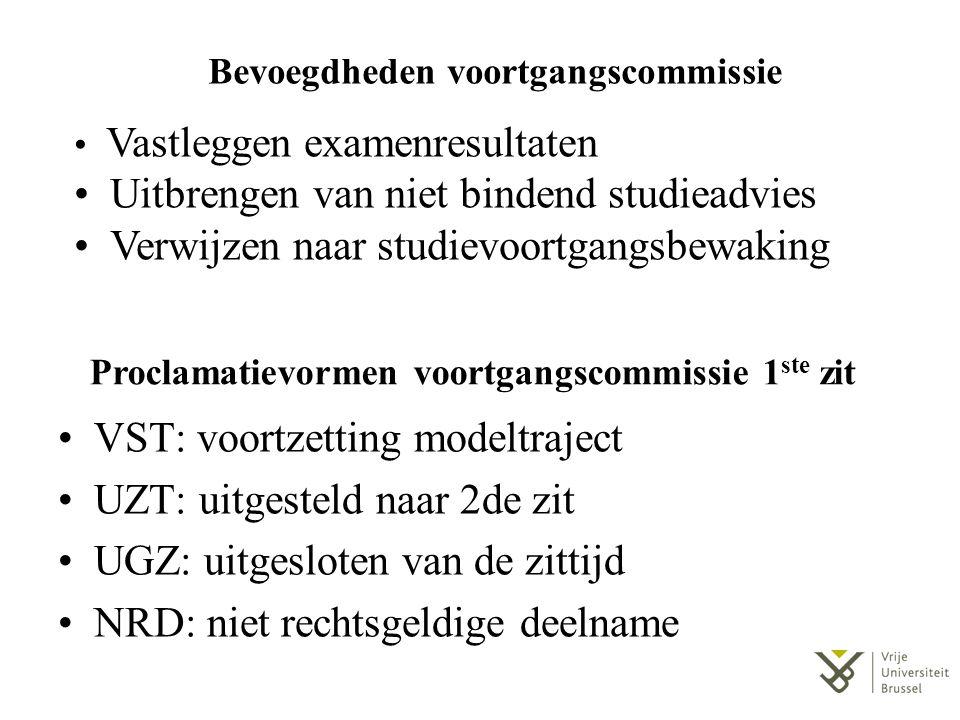 Proclamatievormen voortgangscommissie 2 de zit VST: voortzetting studietraject SVB: verwijzing naar commissie studievoortgangsbewaking BVW: bindende voorwaarden werden opgelegd INT: inschrijving niet toegelaten UGZ: uitgesloten van de zittijd NRD: niet rechtsgeldige deelname