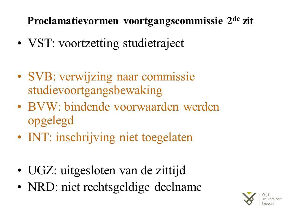Proclamatievormen voortgangscommissie 2 de zit VST: voortzetting studietraject SVB: verwijzing naar commissie studievoortgangsbewaking BVW: bindende v