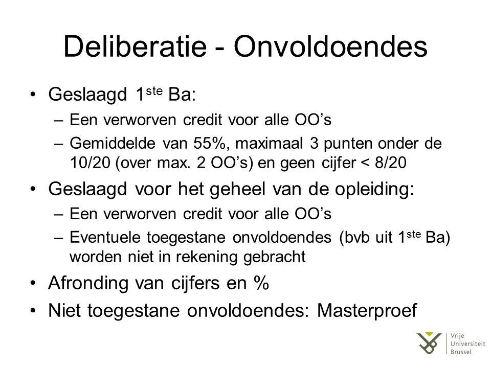 Deliberatie - Onvoldoendes Geslaagd 1 ste Ba: –Een verworven credit voor alle OO's –Gemiddelde van 55%, maximaal 3 punten onder de 10/20 (over max. 2