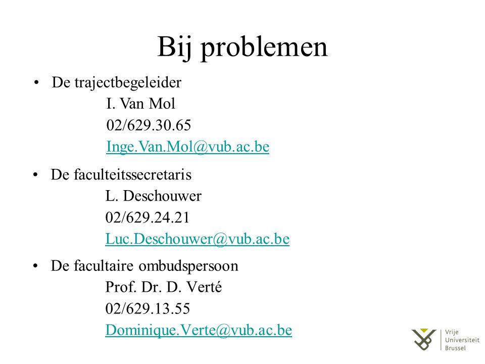 Bij problemen De facultaire ombudspersoon Prof. Dr. D. Verté 02/629.13.55 Dominique.Verte@vub.ac.be De faculteitssecretaris L. Deschouwer 02/629.24.21