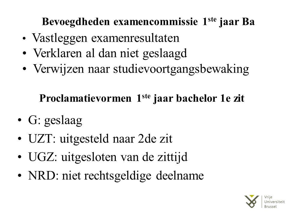 Proclamatievormen 1 ste jaar bachelor 2e zit G: geslaagd VST: voortzetting studietraject SVB: verwijzing naar commissie studievoortgang BVW: bindende voorwaarden werden opgelegd INT: inschrijving niet toegelaten UGZ: uitgesloten van de zittijd NRD: niet rechtsgeldige deelname