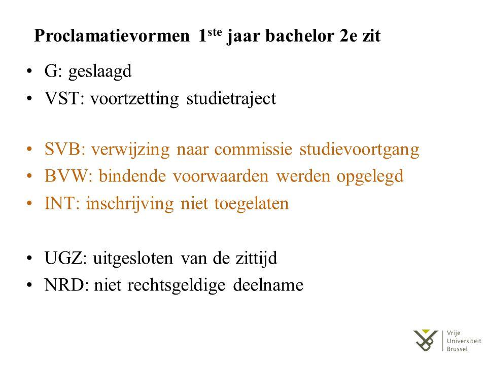 Proclamatievormen 1 ste jaar bachelor 2e zit G: geslaagd VST: voortzetting studietraject SVB: verwijzing naar commissie studievoortgang BVW: bindende
