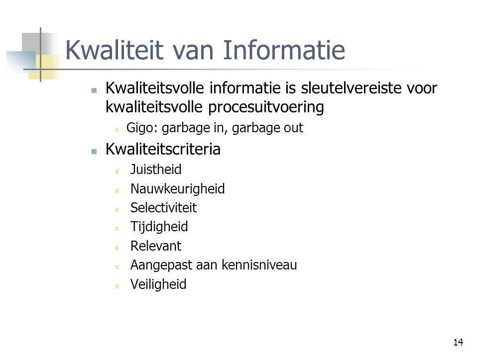 14 Kwaliteit van Informatie Kwaliteitsvolle informatie is sleutelvereiste voor kwaliteitsvolle procesuitvoering Gigo: garbage in, garbage out Kwalitei