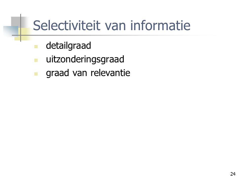 24 Selectiviteit van informatie detailgraad uitzonderingsgraad graad van relevantie