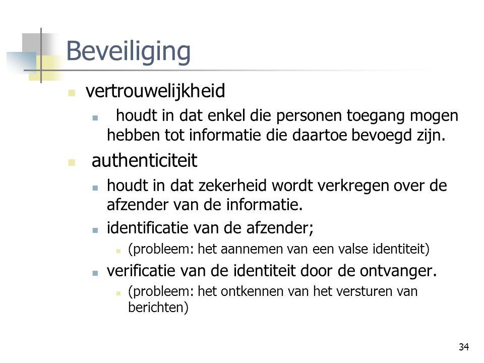 34 Beveiliging vertrouwelijkheid houdt in dat enkel die personen toegang mogen hebben tot informatie die daartoe bevoegd zijn. authenticiteit houdt in