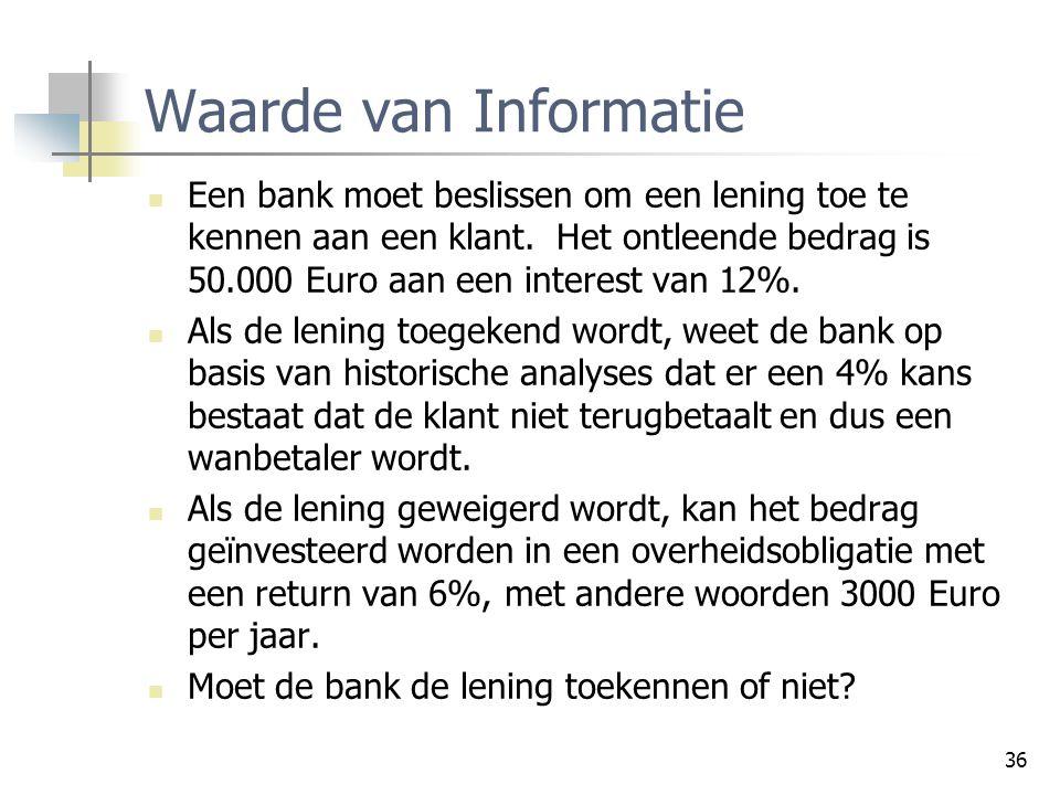 36 Waarde van Informatie Een bank moet beslissen om een lening toe te kennen aan een klant. Het ontleende bedrag is 50.000 Euro aan een interest van 1
