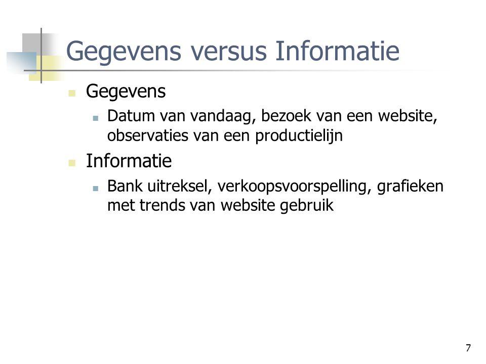 7 Gegevens versus Informatie Gegevens Datum van vandaag, bezoek van een website, observaties van een productielijn Informatie Bank uitreksel, verkoops