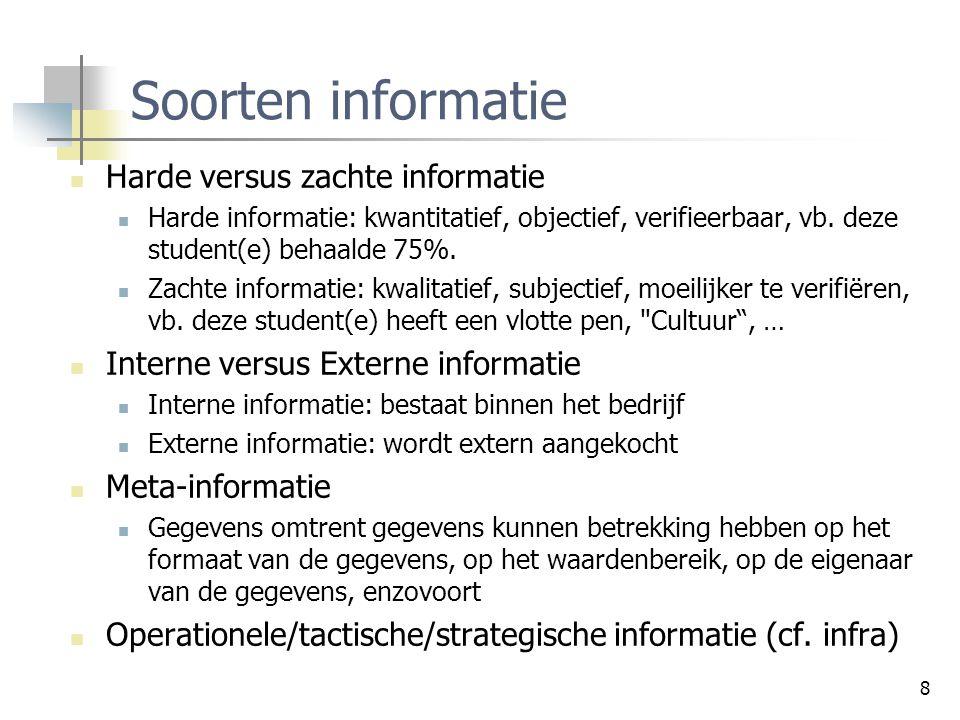 8 Soorten informatie Harde versus zachte informatie Harde informatie: kwantitatief, objectief, verifieerbaar, vb. deze student(e) behaalde 75%. Zachte
