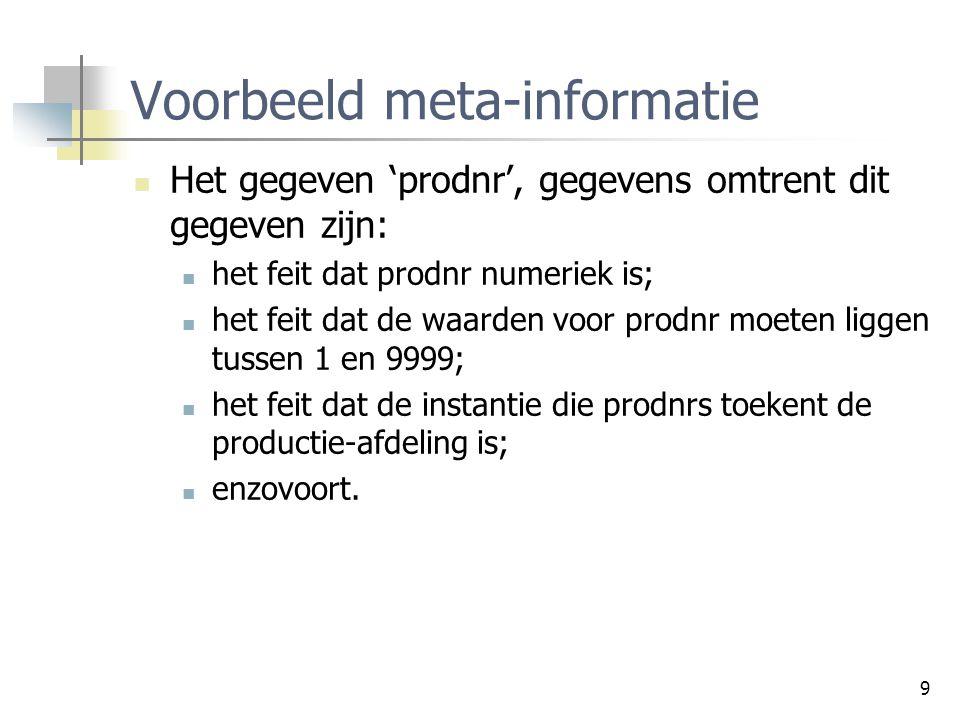 9 Voorbeeld meta-informatie Het gegeven 'prodnr', gegevens omtrent dit gegeven zijn: het feit dat prodnr numeriek is; het feit dat de waarden voor pro
