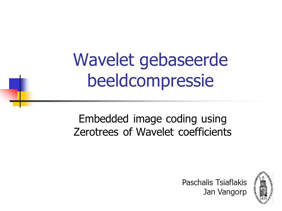 Inleiding Beeldcompressie Transformatie  Wavelettransformatie EZW-algoritme Demo + resultaten