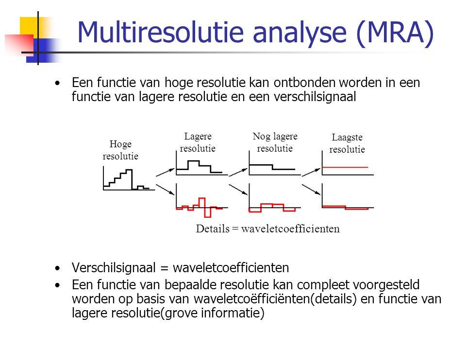 Multiresolutie analyse (MRA) Een functie van hoge resolutie kan ontbonden worden in een functie van lagere resolutie en een verschilsignaal Verschilsi