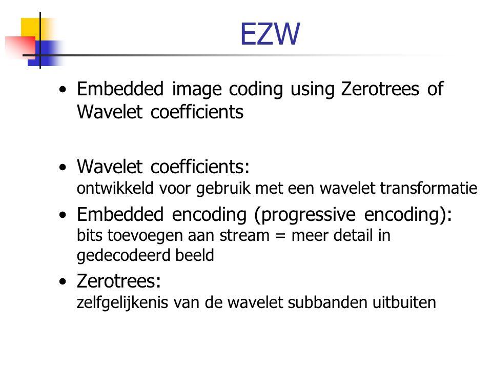 EZW Embedded image coding using Zerotrees of Wavelet coefficients Wavelet coefficients: ontwikkeld voor gebruik met een wavelet transformatie Embedded