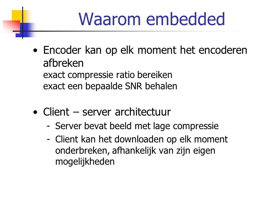 Waarom embedded Encoder kan op elk moment het encoderen afbreken exact compressie ratio bereiken exact een bepaalde SNR behalen Client – server archit