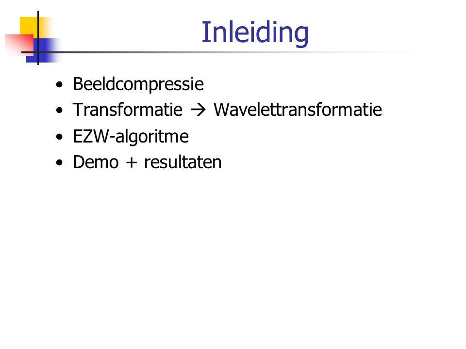 Waarom wavelet transformatie Karakteristieken beeld goed weergegeven door wavelet transformatie: -Goede frequentieresolutie voor lage frequenties  algemene trend in een beeld -Goede localisatie (plaatsresolutie) voor hoge frequenties  details in een beeld