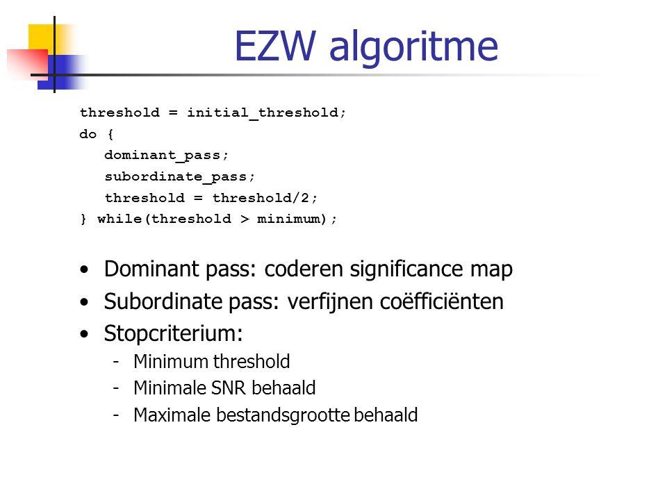 EZW algoritme threshold = initial_threshold; do { dominant_pass; subordinate_pass; threshold = threshold/2; } while(threshold > minimum); Dominant pas