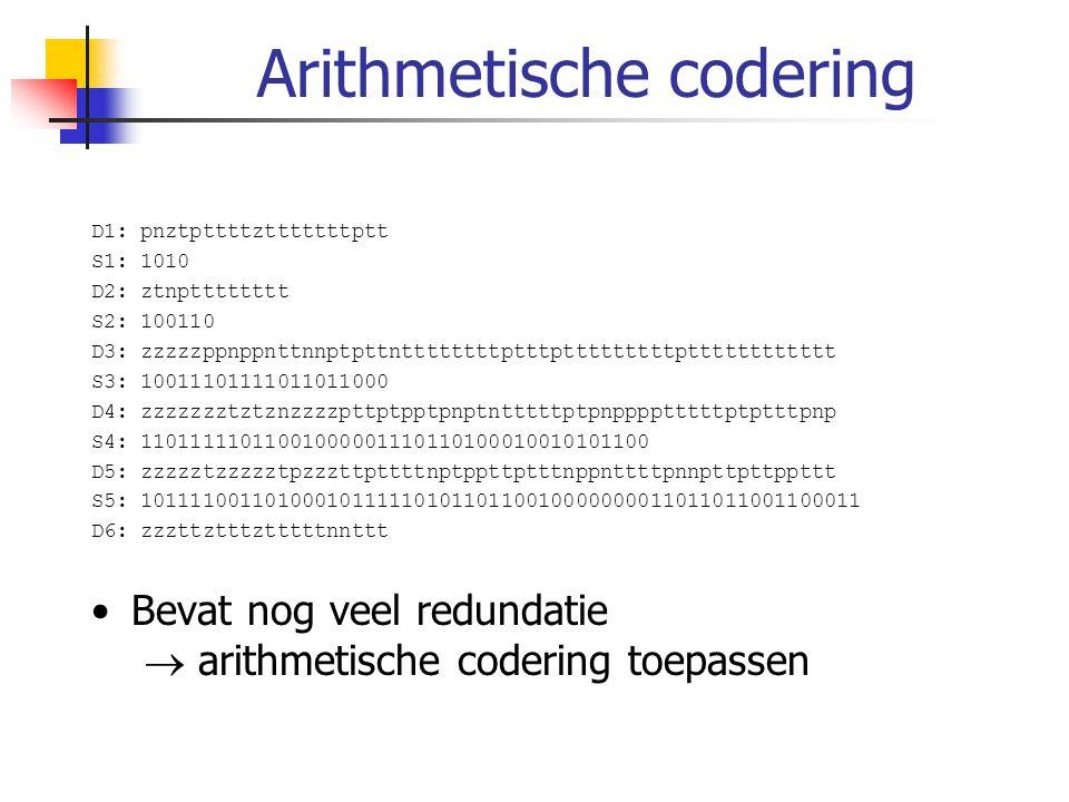 Arithmetische codering D1: pnztpttttztttttttptt S1: 1010 D2: ztnptttttttt S2: 100110 D3: zzzzzppnppnttnnptpttnttttttttptttptttttttttptttttttttttt S3: