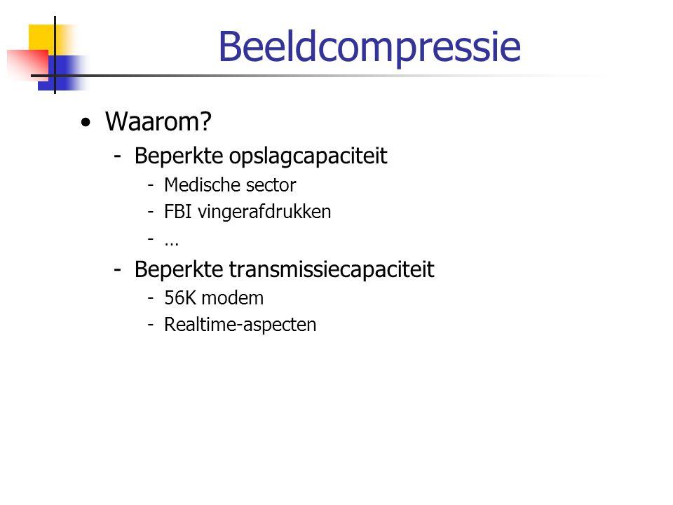 Beeldcompressie Waarom? -Beperkte opslagcapaciteit -Medische sector -FBI vingerafdrukken -… -Beperkte transmissiecapaciteit -56K modem -Realtime-aspec