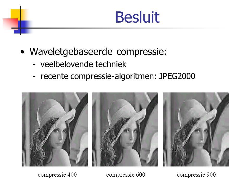 Besluit Waveletgebaseerde compressie: -veelbelovende techniek -recente compressie-algoritmen: JPEG2000 compressie 400compressie 600compressie 900