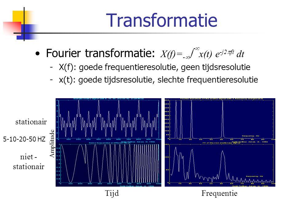 Short Time Fourier Transform X(f,τ) = -    x(t) g*(t- τ) e -j2  ft dt Tijdsresolutie door met venster te werken Keuze venster bepaalt vervorming Onzekerheidsprincipe  afweging tussen tijds- en frequentieresolutie -Smal venster: betere tijdsresolutie -Breed venster: betere frequentieresolutie Nadeel: op voorhand venster kiezen -Vaste tijds- en frequentieresolutie voor het hele signaal