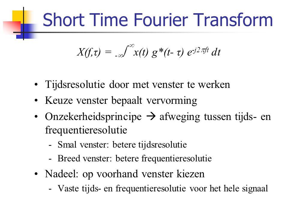 Wavelet transformatie We willen: -Lage frequenties: betere frequentieresolutie -Hoge frequenties: betere tijdsresolutie  Wavelet transformatie (WT) -Wavelet = golfvorm, functie van de tijd -Wavelet transformatie: Tijdsfunctie voorstellen dmv gescaleerde en verschoven versies van een moederwavelet Scaleren: Transleren: f(x)f(2x)f(3x) f(x)f(x-1) f(x+1) +1