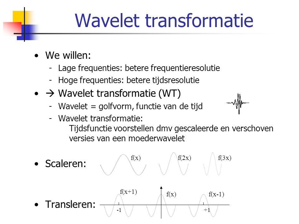 Wavelet transformatie Continue wavelet transformatie (CWT) Discrete Wavelet transformatie Moeder-wavelet γ = waveletcoefficiënt τ = translatie s = schaal, resolutie γ(0.5,3)=0.23