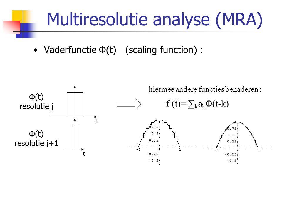 EZW algoritme threshold = initial_threshold; do { dominant_pass; subordinate_pass; threshold = threshold/2; } while(threshold > minimum); Dominant pass: coderen significance map Subordinate pass: verfijnen coëfficiënten Stopcriterium: -Minimum threshold -Minimale SNR behaald -Maximale bestandsgrootte behaald