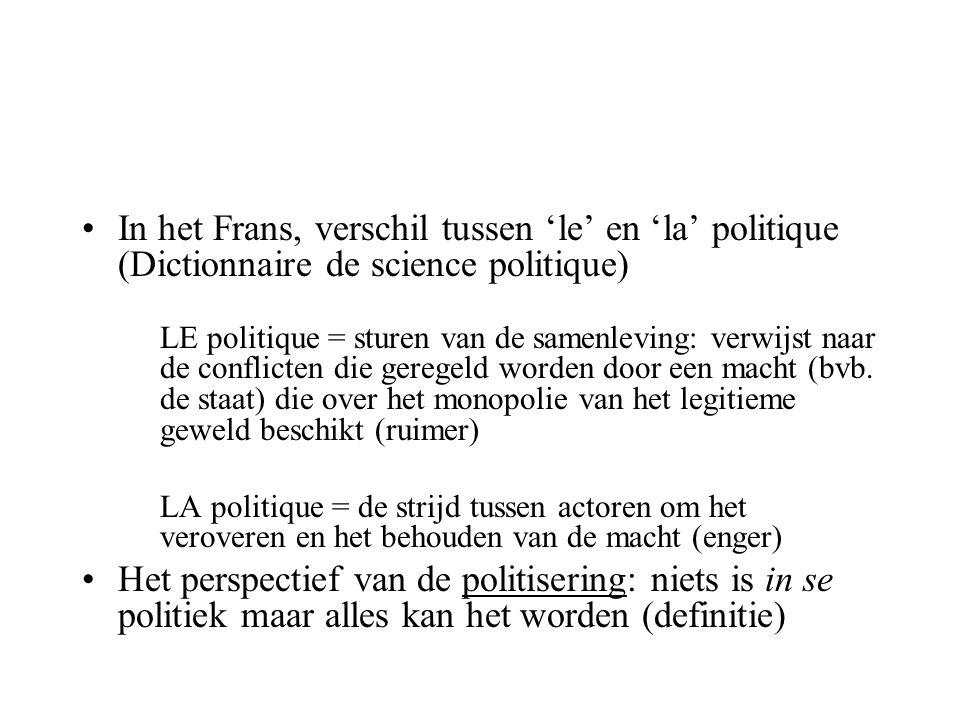In het Frans, verschil tussen 'le' en 'la' politique (Dictionnaire de science politique) LE politique = sturen van de samenleving: verwijst naar de co