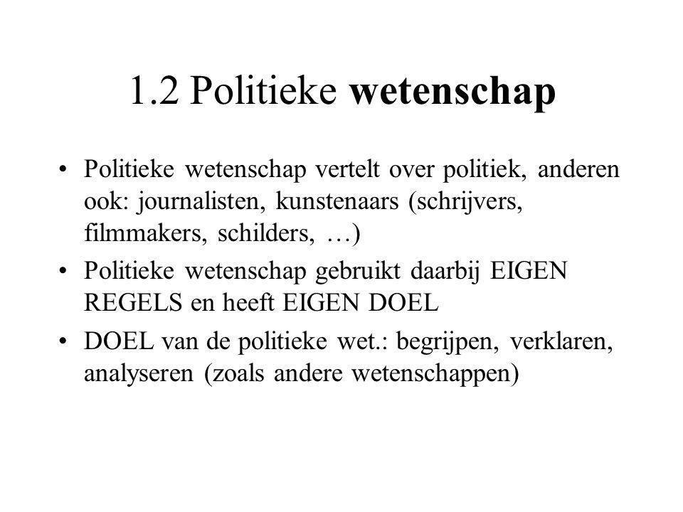 1.2 Politieke wetenschap Politieke wetenschap vertelt over politiek, anderen ook: journalisten, kunstenaars (schrijvers, filmmakers, schilders, …) Pol
