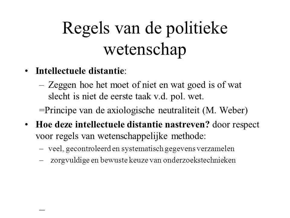 Regels van de politieke wetenschap Intellectuele distantie: –Zeggen hoe het moet of niet en wat goed is of wat slecht is niet de eerste taak v.d. pol.