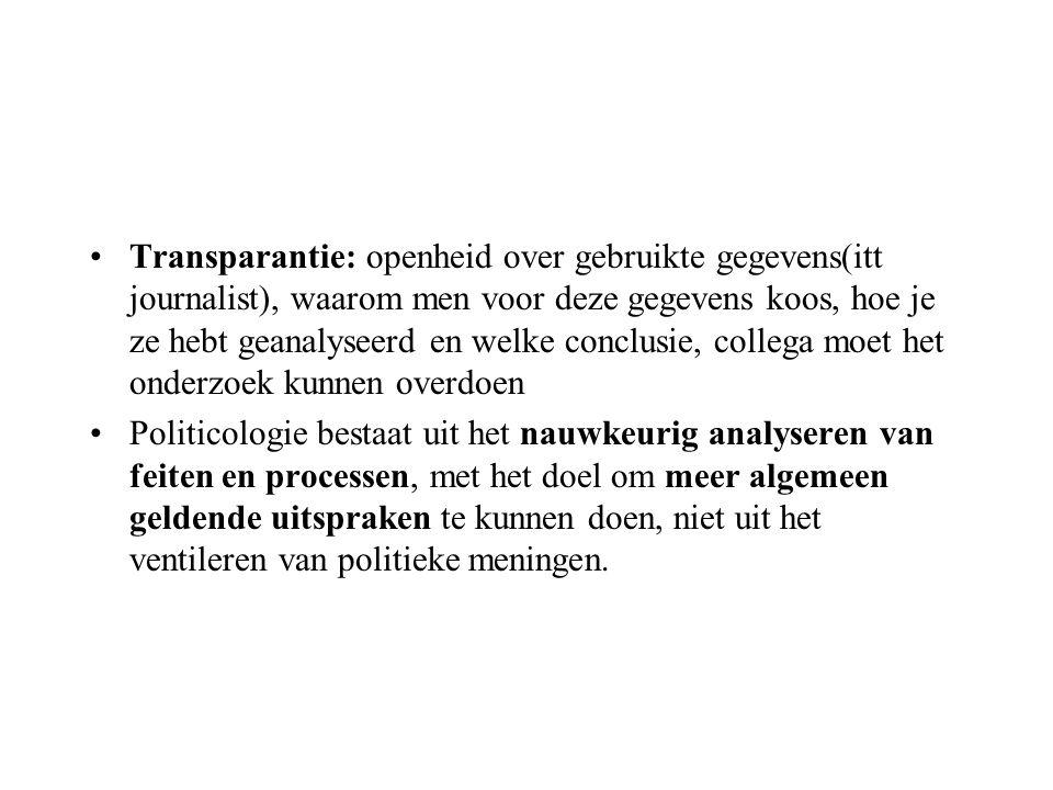Transparantie: openheid over gebruikte gegevens(itt journalist), waarom men voor deze gegevens koos, hoe je ze hebt geanalyseerd en welke conclusie, c